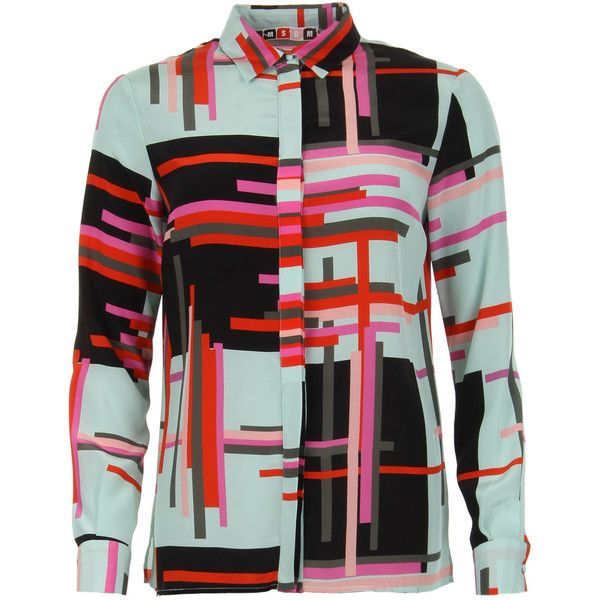 MSGM Multicoloured Geometric Silk Blouse (7,190 MXN) ❤ liked on Polyvore featuring tops, blouses, рубашки, print top, geometric blouse, loose blouse, multi color blouse and print blouse