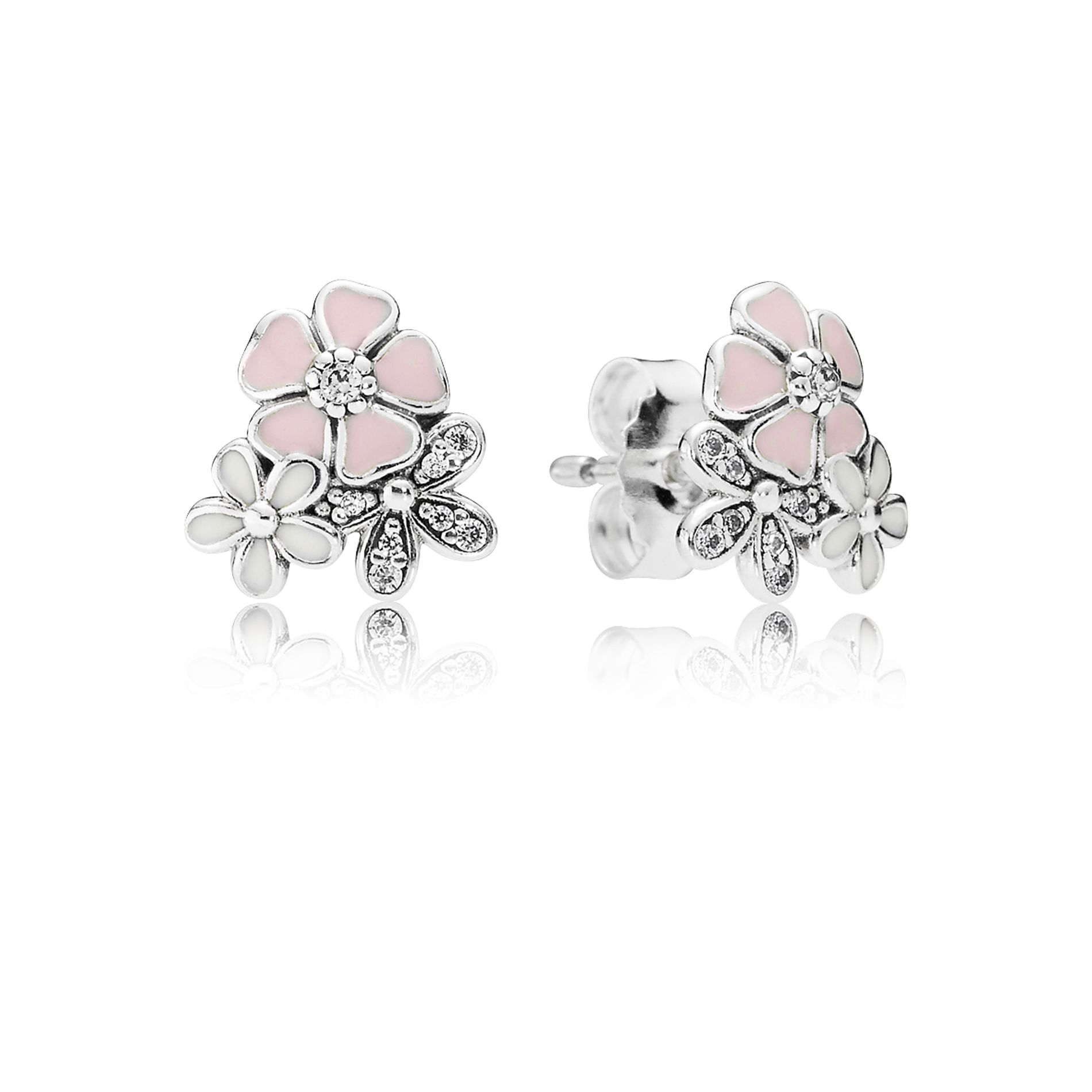 Stonebeads Pink Cherry Blossom Flower Stud Earrings in 925 sterling silver with pink enamel flowers. YP9bXG0