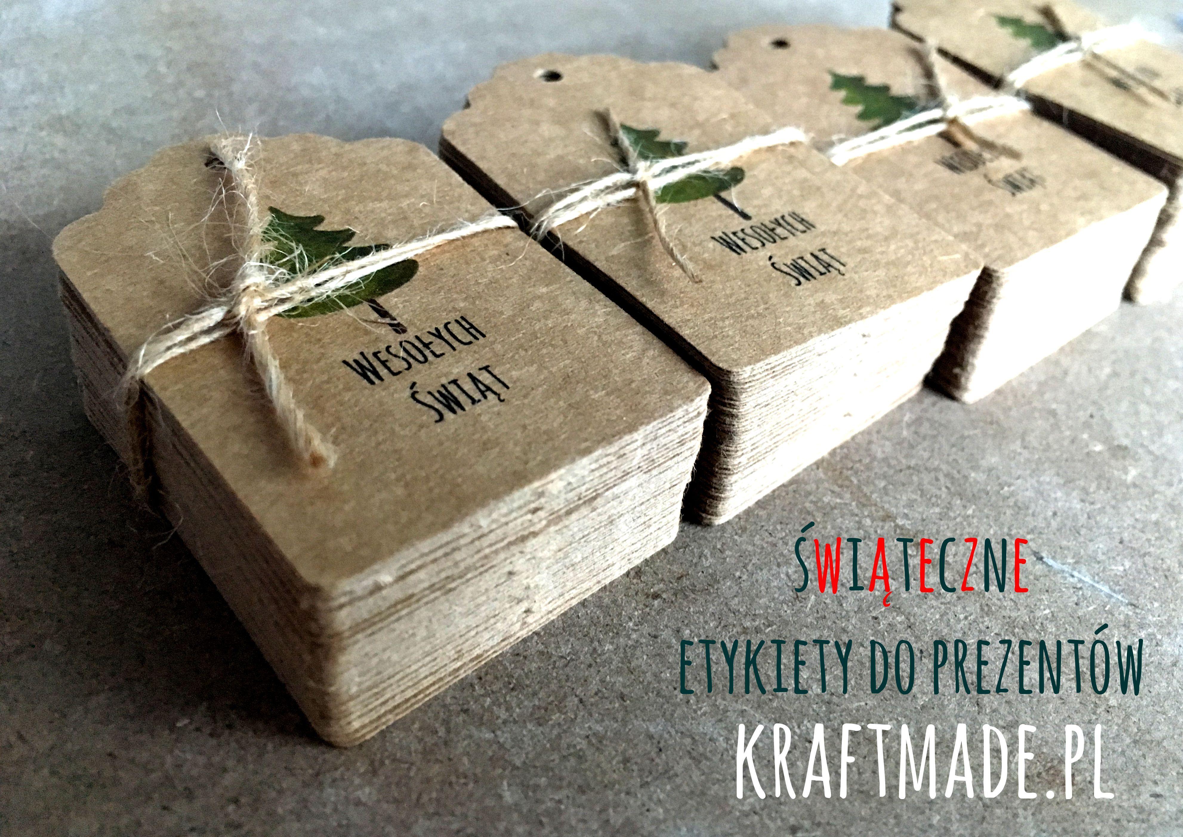 Etykiety Zawieszki 5 Szt Swiateczne Eko Kraft Kraftmade Gift Wrapping Gifts Kraft
