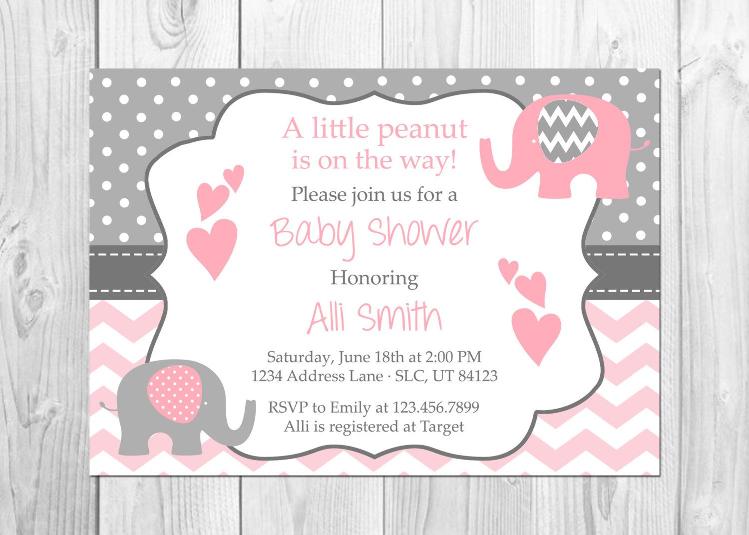Elephant Baby Shower Invitation, It\'s a Girl, Elephant, Chevron ...