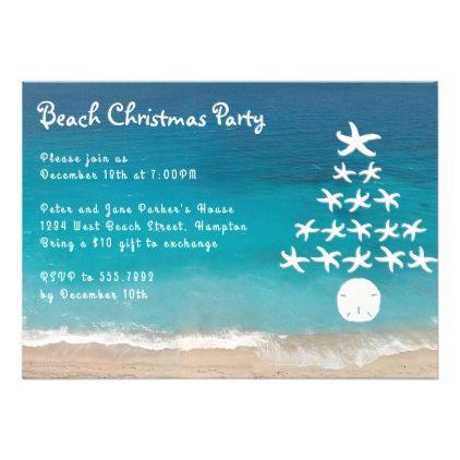 Starfish Tree Beach Christmas Party Invitation Zazzle Com