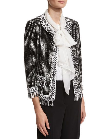3fec02e72 ST. JOHN NITA FRINGE TWEED 3/4-SLEEVE JACKET, BLACK/WHITE. #st.john ...