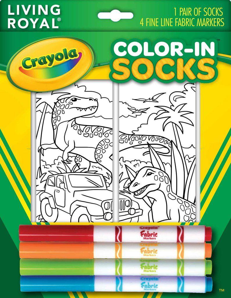 ColorIn Socks Dinosaur Safari Fabric markers, Colorful