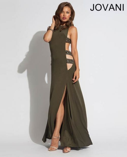exotic olivedark green prom dress 2014 by jovani with