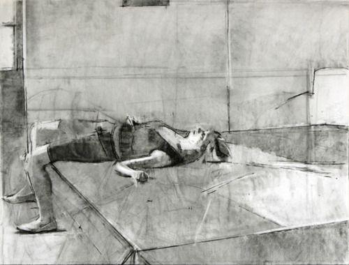 Sangram Majumdar - Fold charcoal on paper, 30x44 in, 2007