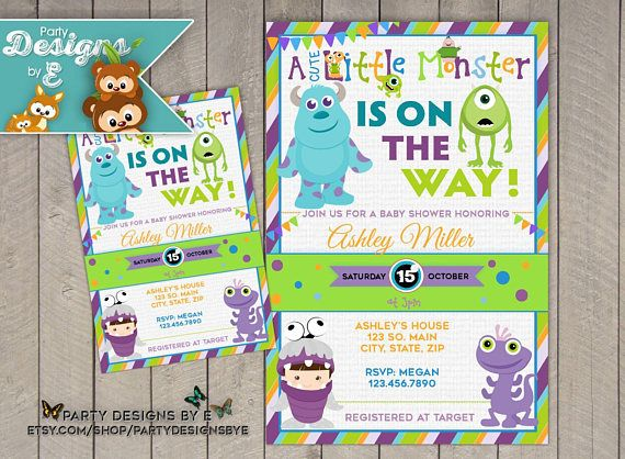 Monsters inc baby shower invitation a little monster baby monsters inc baby shower invitation a little monster baby filmwisefo