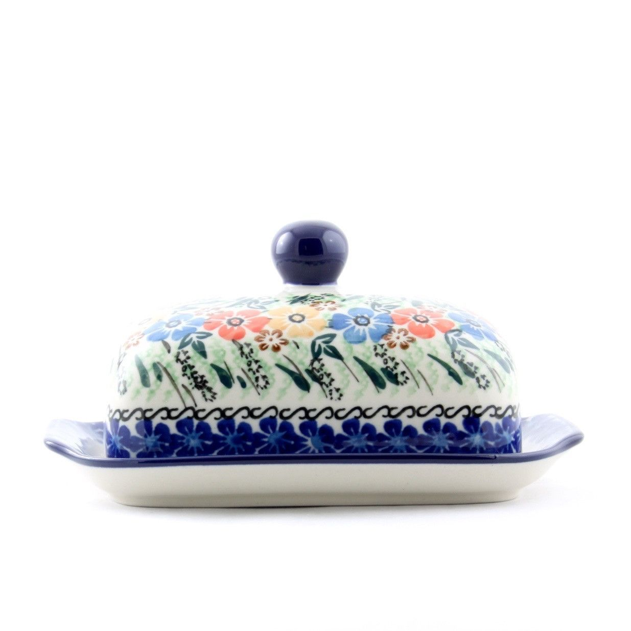 Handmade Ceramic Blue Red and Yellow Flower Butter Dish | Butter ...