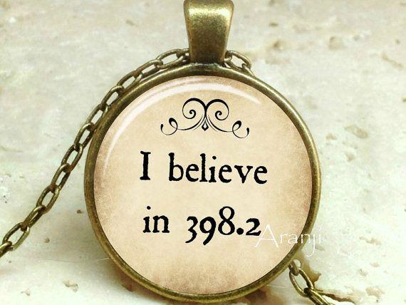 Fairy tales pendant, I believe in 398.2 pendant, fairy tales necklace, books jewelry, library necklace, Dewey decimal 398.2, Pendant#QT118BR