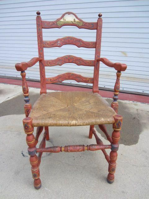 American Antique Ladder Back Arm Chair Pennsylvania Dutch Antique Furniture - American Antique Ladder Back Arm Chair Pennsylvania Dutch