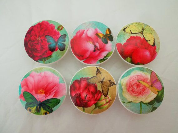 Set Of 6 Big Blooms And Butterflies Oversized Cabinet Knobs