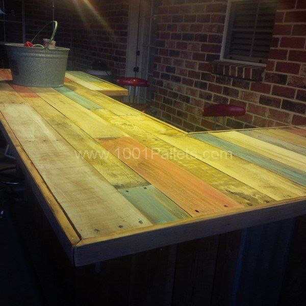 Reclaimed Pallet Wood Bar  Recycling Projects  Ideas  Wood bars Pallet bar Bar furniture