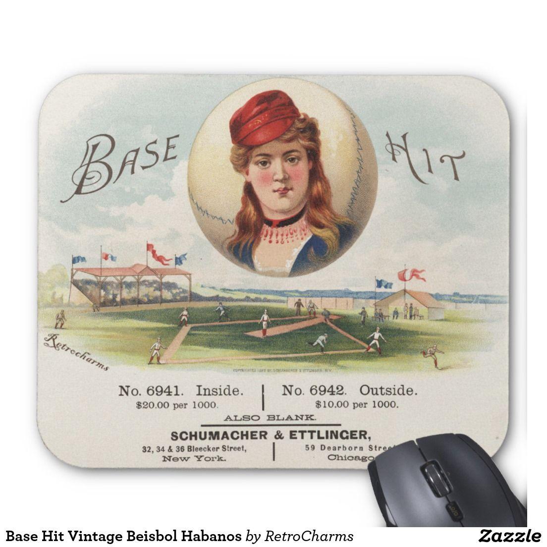 Alfombrilla De Raton Base Hit Vintage Beisbol Habanos Zazzle Es