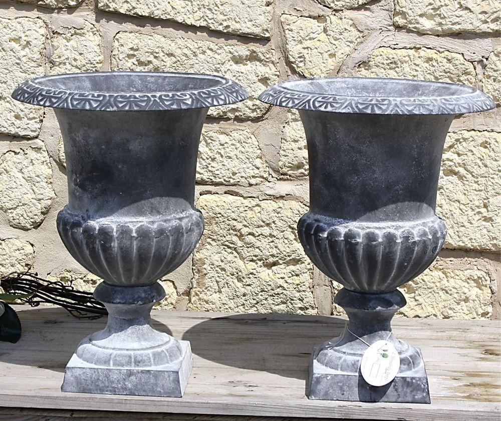 2 jardiniere bac pot vasque medicis en fonte de jardin portail porte gris 41cm fontaine. Black Bedroom Furniture Sets. Home Design Ideas