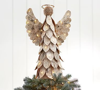 Lit Birch Angel Tree Topper Potterybarn Coastalchristmasdecorations Christmas Tree Toppers Diy Tree Topper Christmas Tree Design