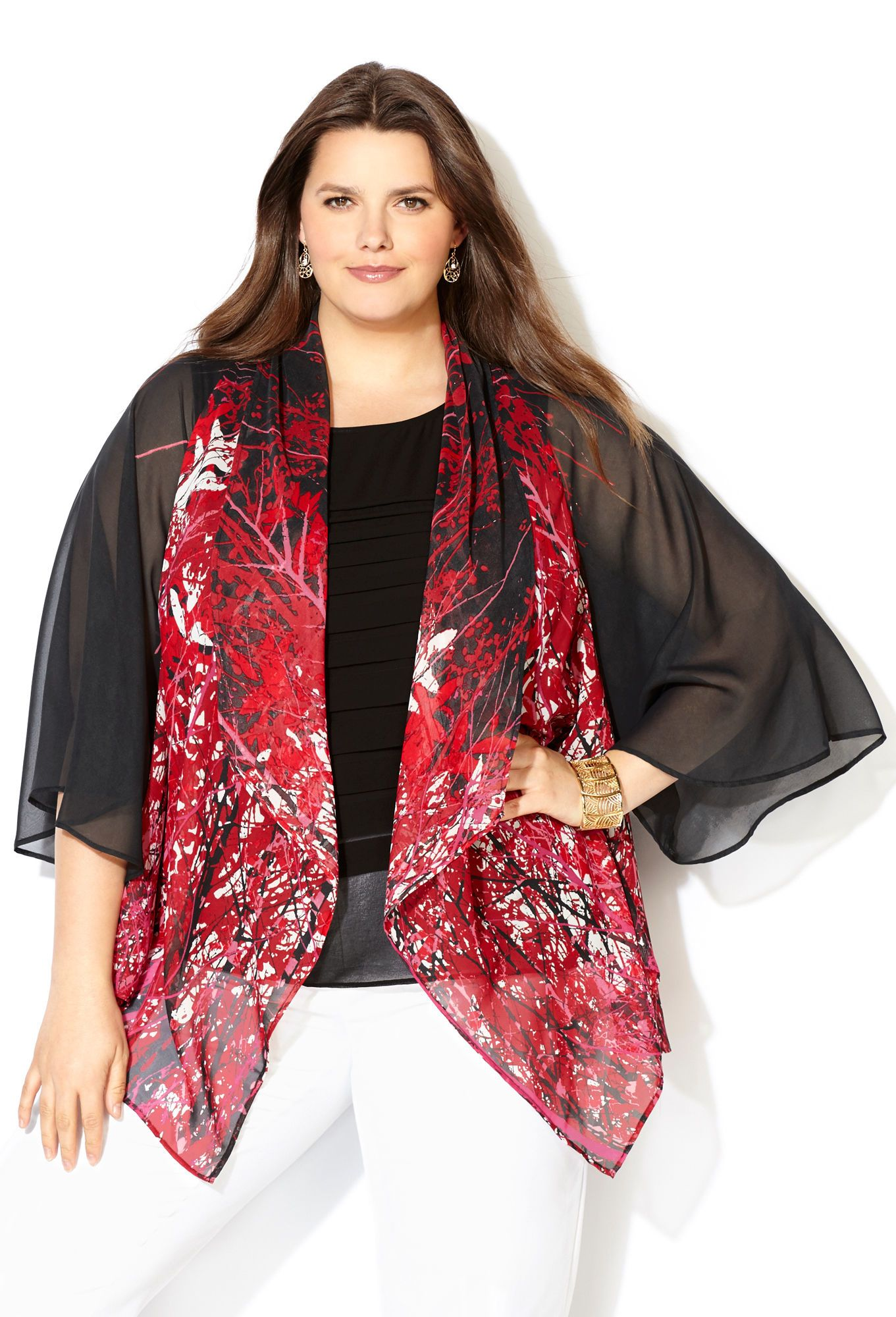 Red Leaf Kimono Cardigan-Avenue | Sarah Slick (Avenue - Tops ...