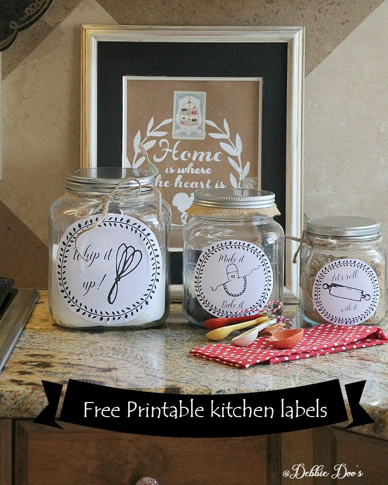 Free kitchen printable labels for canisters or more - Debbiedoos