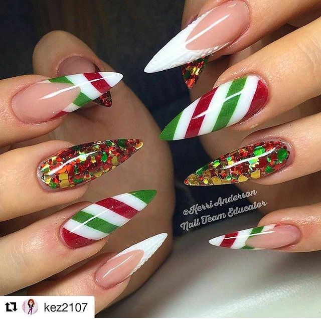 Candy Cane Nails Christmas Nails Acrylic Xmas Nails Christmas Nails