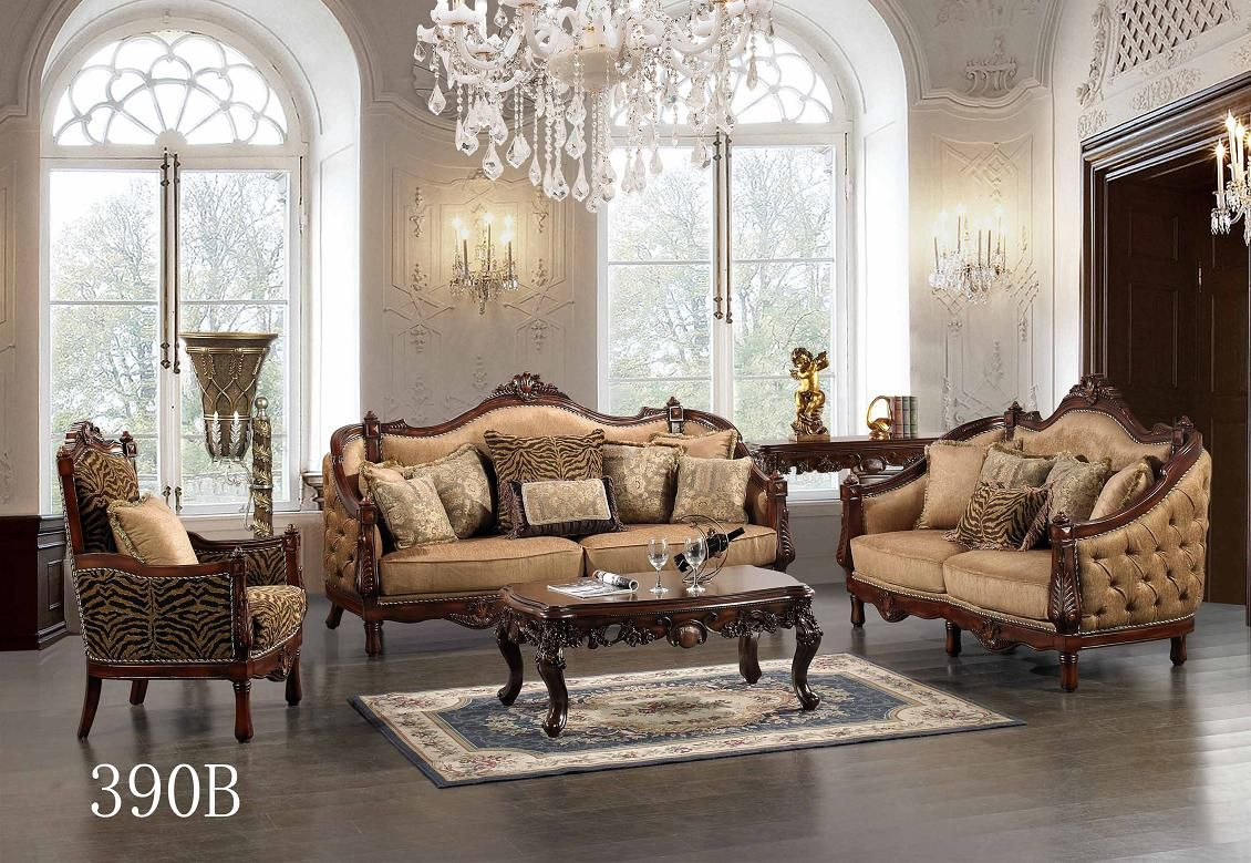 Traditional european design formal living room sofa set w carved