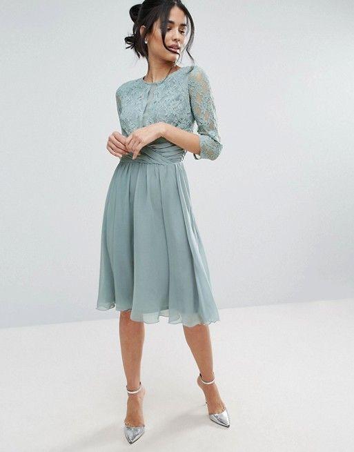 Elise Ryan Ruched Waist Lace Midi Dress | Kleider hochzeit gast ...