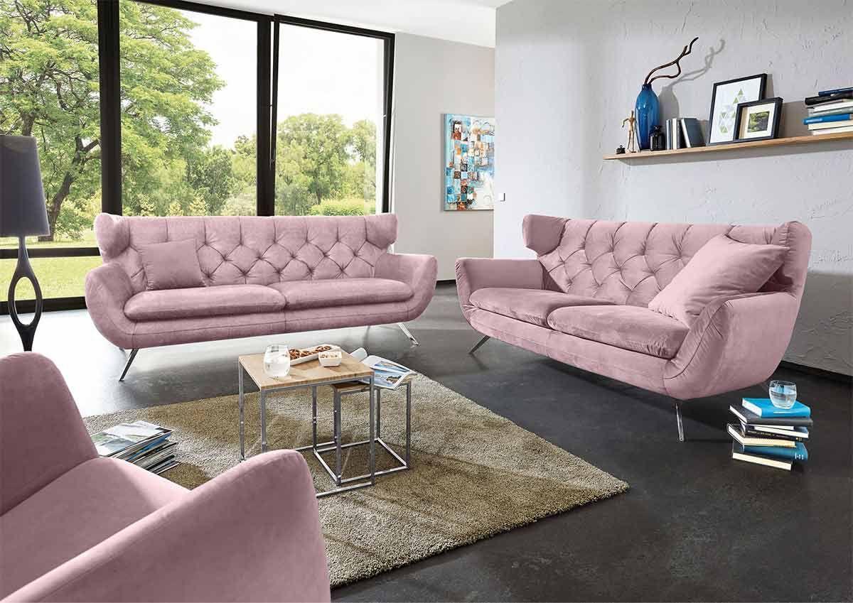 Ole Gunderson Sofa Garnitur NEW CASTLE 19-teilig Stoffbezug rosa