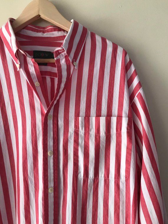 9475f6884 Vintage 90s J.Crew Red   White Vertical Striped Button Up Collared Mens  Unisex Nautical Style Shirt