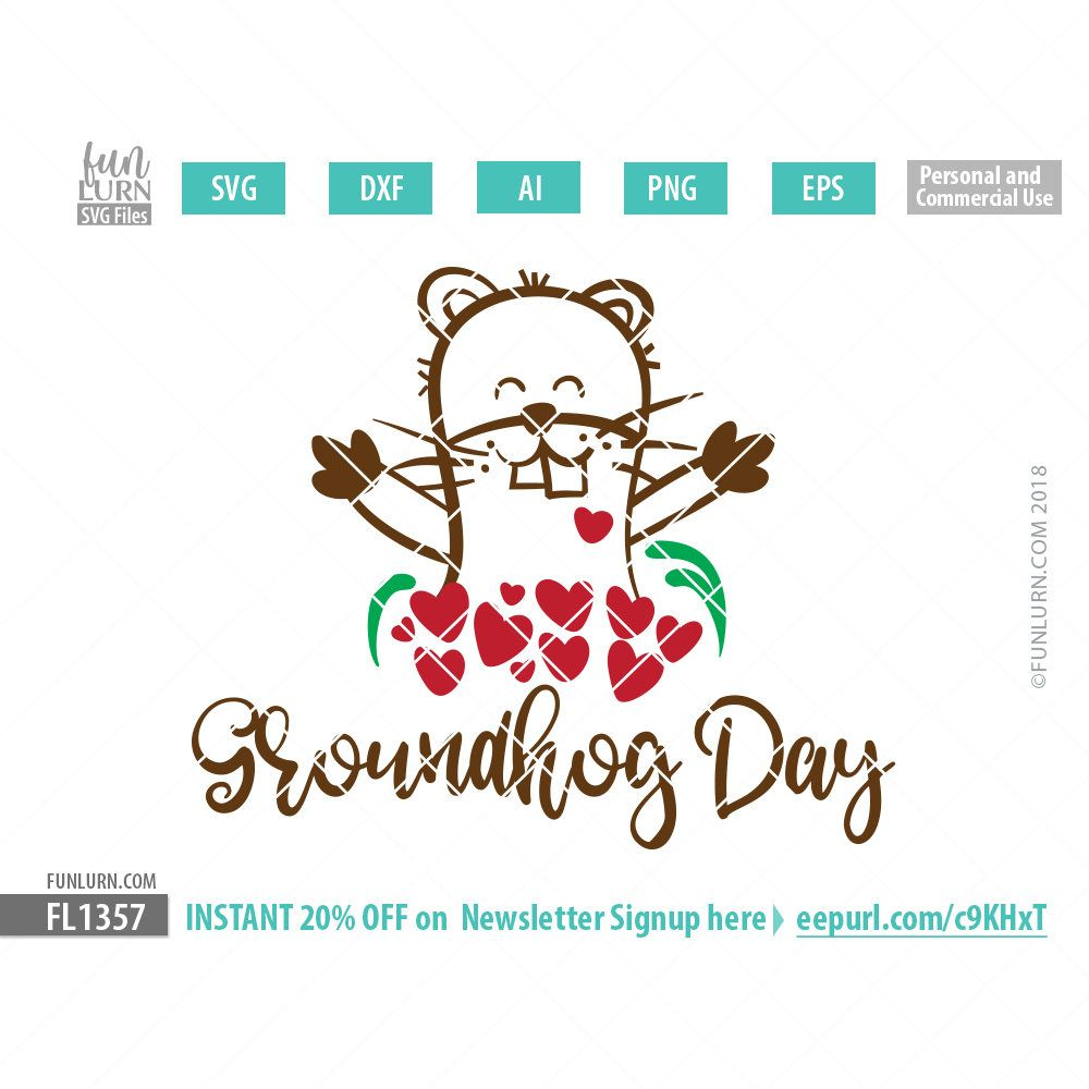Groundhog Day SVG cutting file, DXF EPS PNG and Ai Files for craft cutters Silhouette Cameo, Cricut etc. Get instant 20% off on newsletter subscription. Get an instant 20% Discount on your next order here http://eepurl.com/b7yZ09