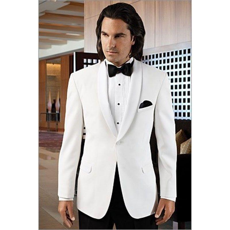 2017 New Fashion White Groom men Suit Wedding Tuxedos Formal Dress ...