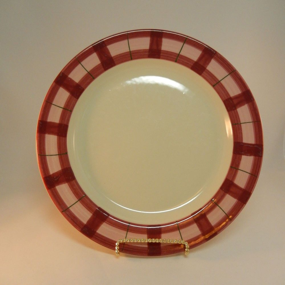 Hartstone Pottery Pink Plaid HRT15 Dinner Plate Hand Painted Stoneware Carlisle : hartstone pottery dinnerware - pezcame.com