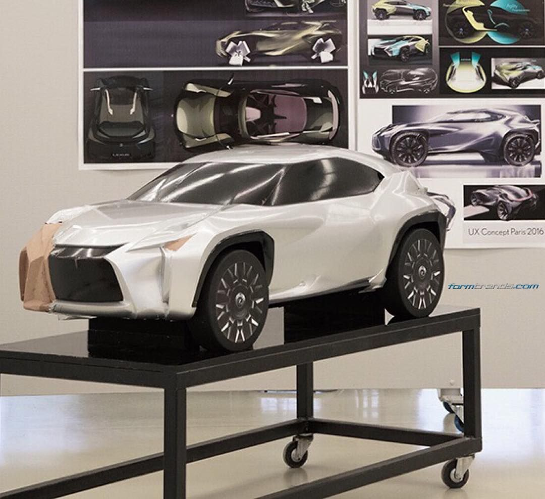 clay model of the  lexus ux concept partially covered in di