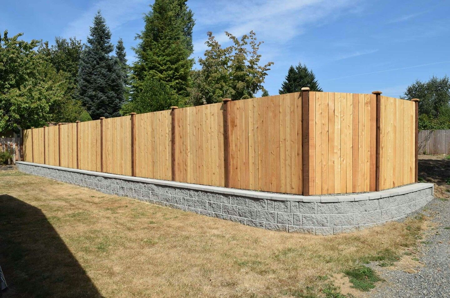 block wall fence toppers   wood privacy fence