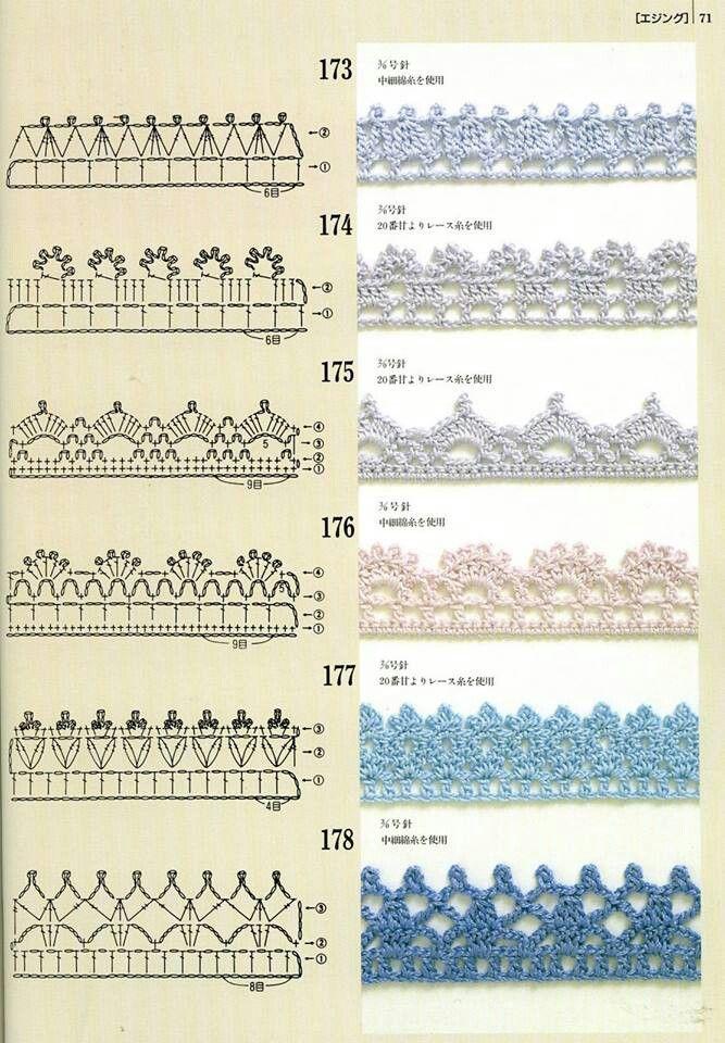 Crochet Ganchillo - Esquemas Patrones Diagramas | Bordes crochet ...