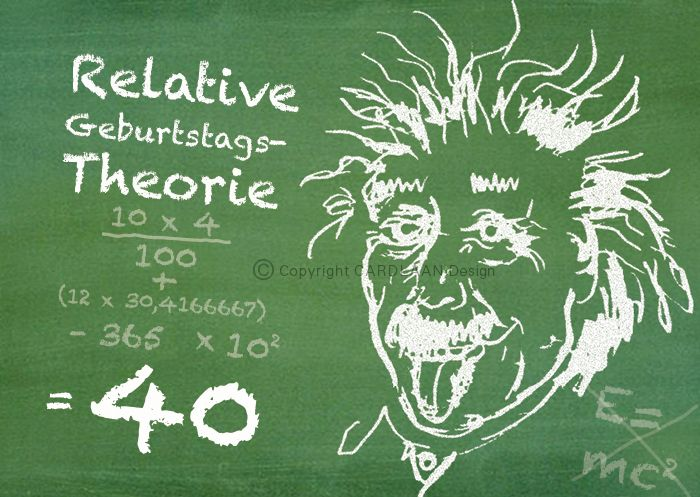 Einladung 40 Geburtstag Einstein Tafel