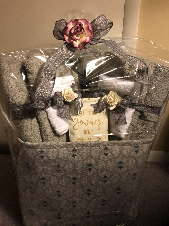 Bridal Shower Gift Basket Sheet And Towel Set Diy Bridal Shower Gifts Bridal Shower Gift Baskets Bridal Shower Baskets