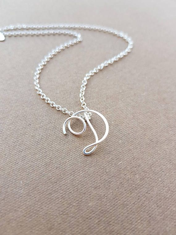 Sterling Silver Mini Diamond Initial Charm Letter V Hand Stamped Pendant With 20 Silver Bead Chain