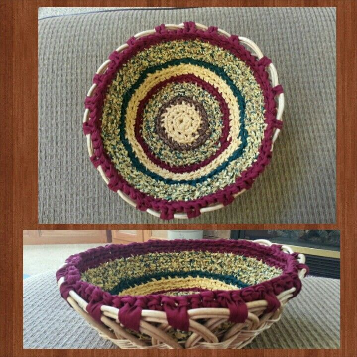 50 cent basket from Goodwill plus a few strips of leftover quilting fabric!