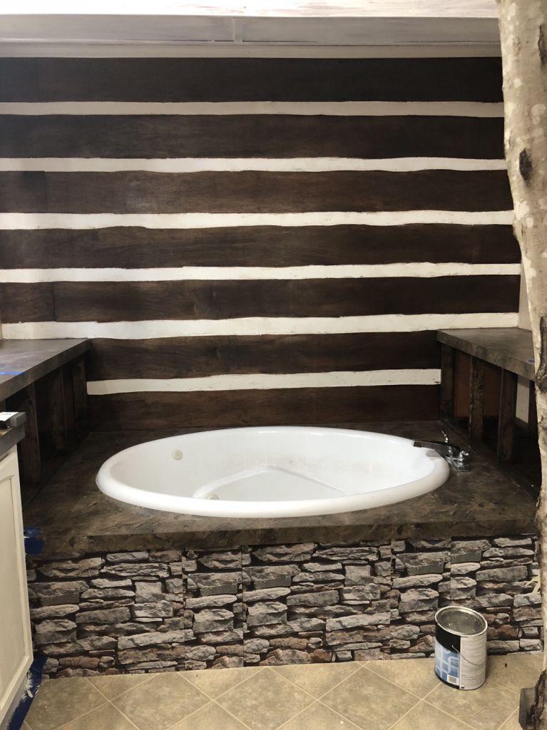 Diy Faux Log Cabin Accent Wall Cheap Log Wall Cabin Wall