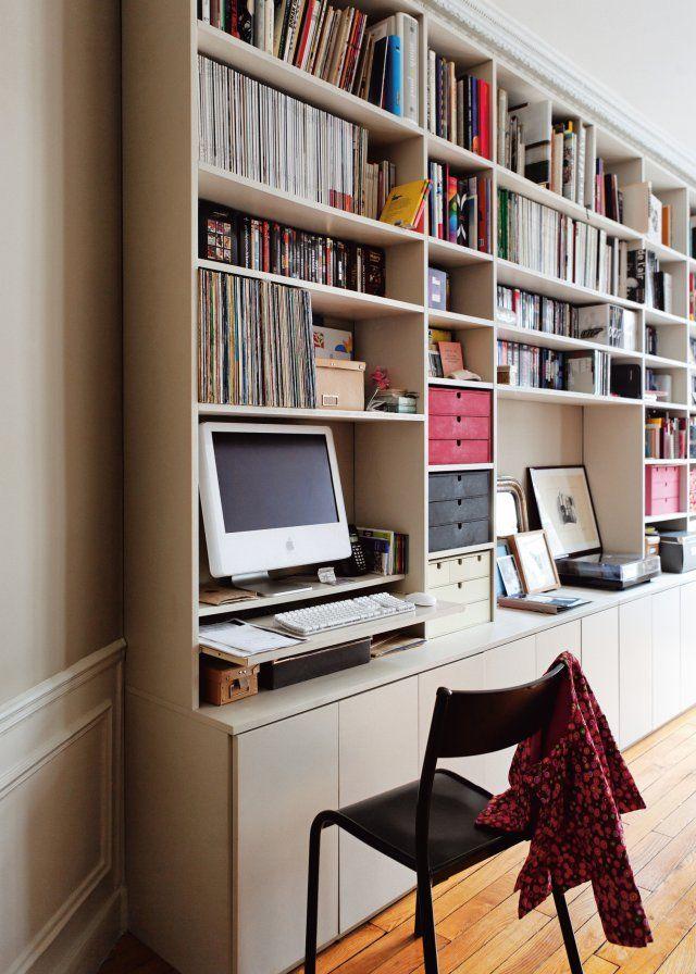 Un bureau intégré dans une bibliothèque | Etagere Avec Bureau ...