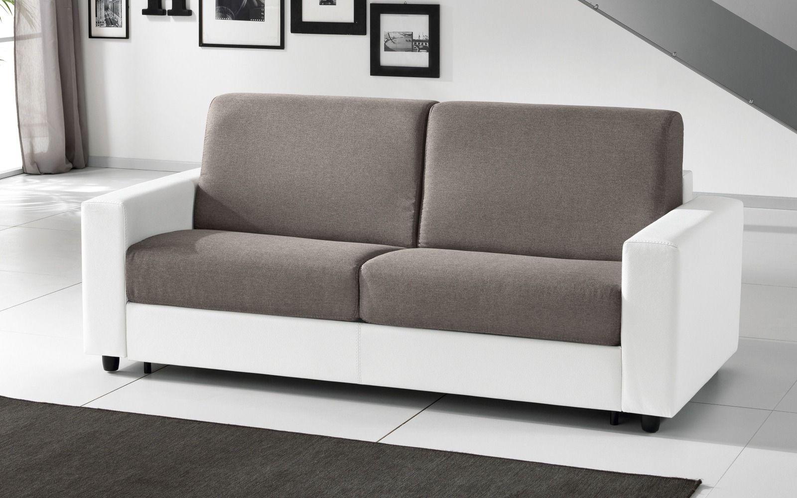 Divano Letto Design Outlet.Similpelle Bianco Tessuto Ambra Brown Divano Letto A Ribalta 3