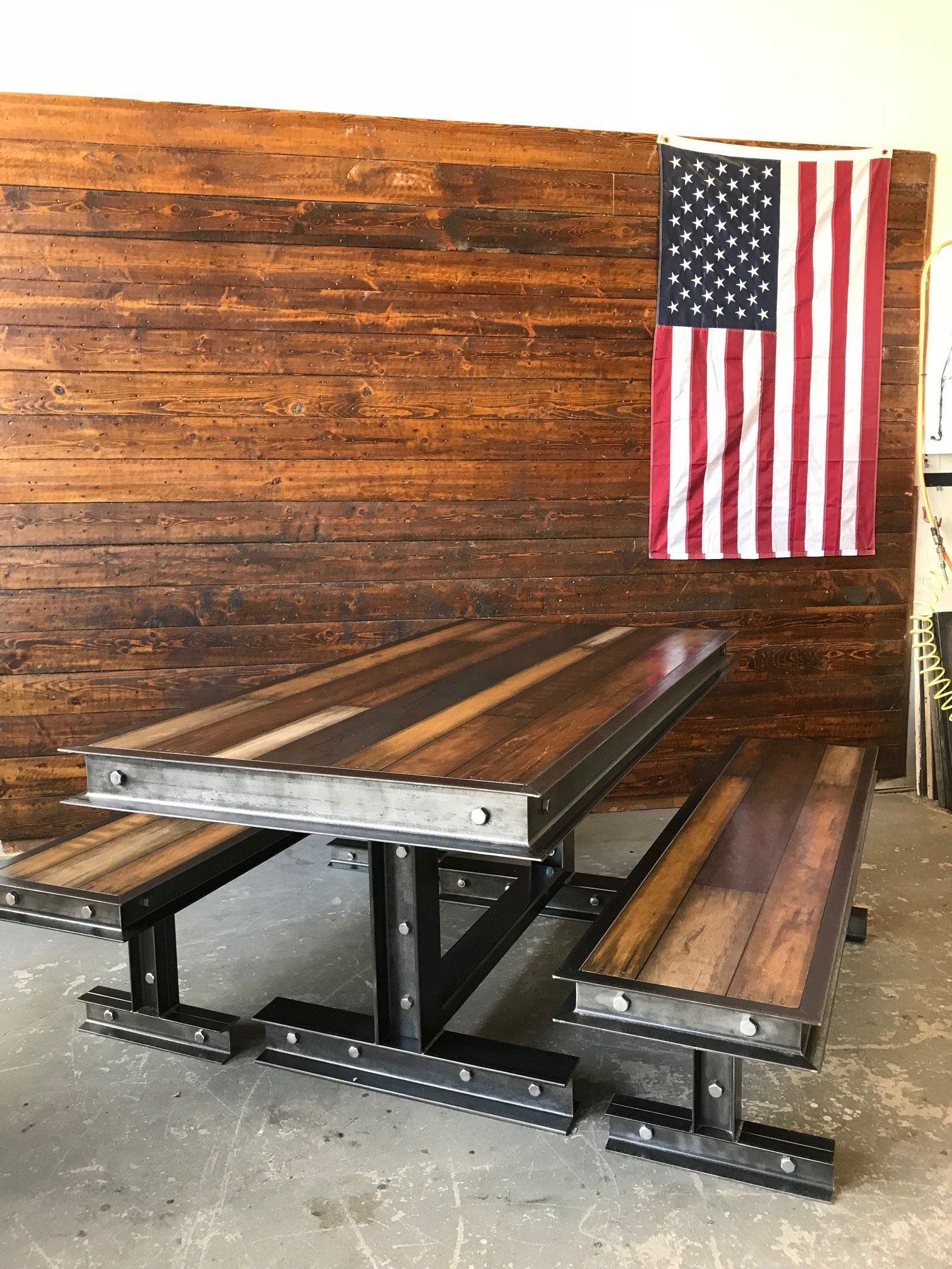 industrial steel u reclaimed wood dining room table products
