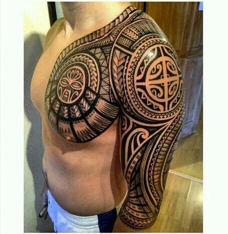 Polynesian chest sleeve tattoos pinterest for Polynesian chest tattoo