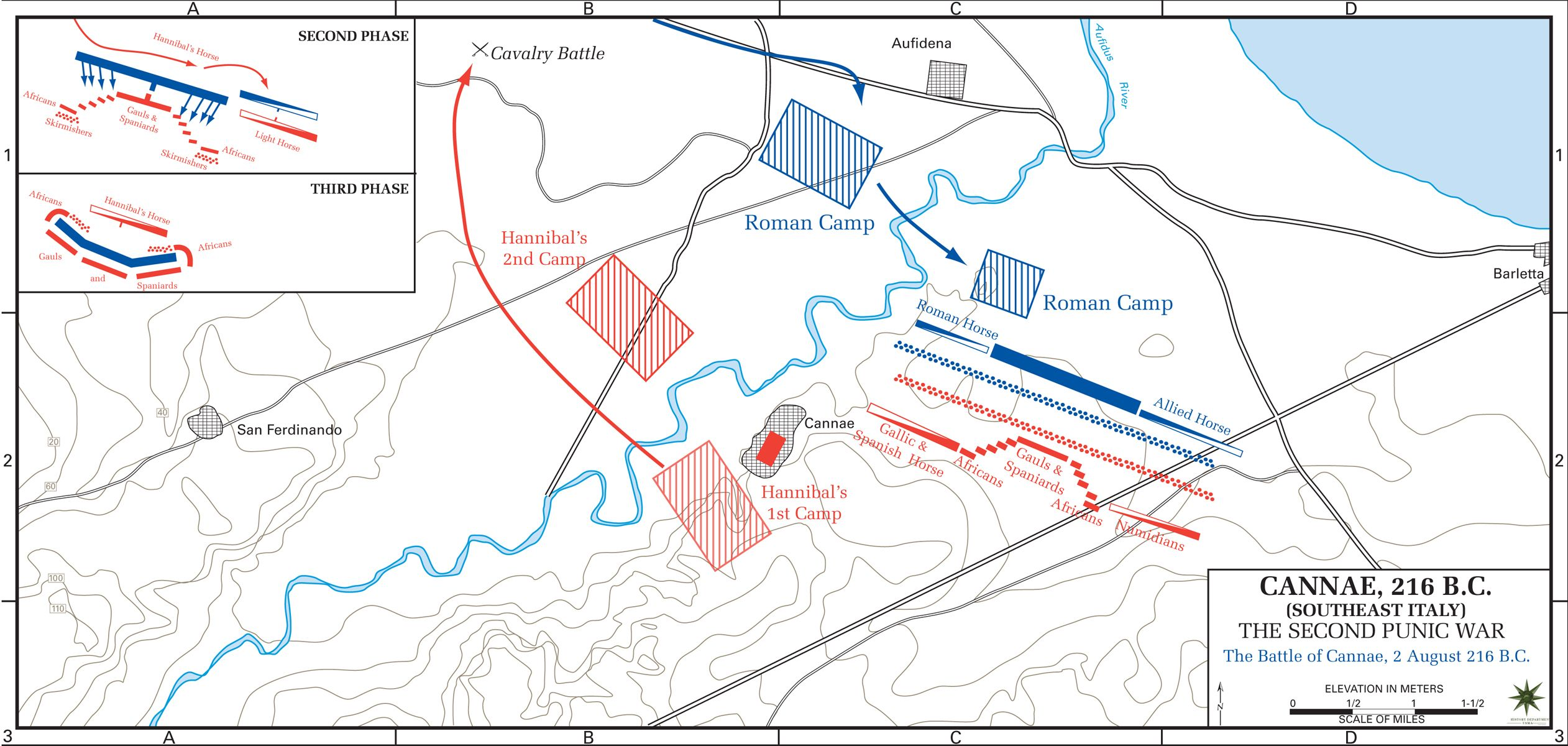 Map of the Battle of Cannae, August 2, 216 BC
