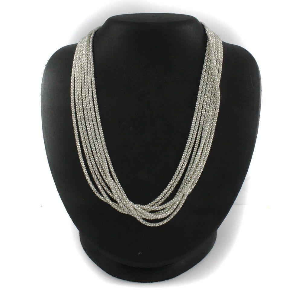 "Estate Costume Joan Rivers Silvertone Modern Textured 20"" Necklace  #JoanRivers #StrandString"
