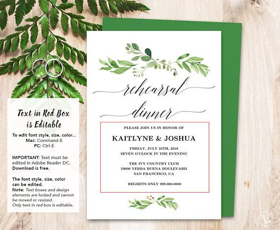 Wedding rehearsal dinner invitation card template printable beautiful greenery printable rehearsal dinner invitation card template that is affordable stylish and high resolution you can edit and print as many as stopboris Image collections
