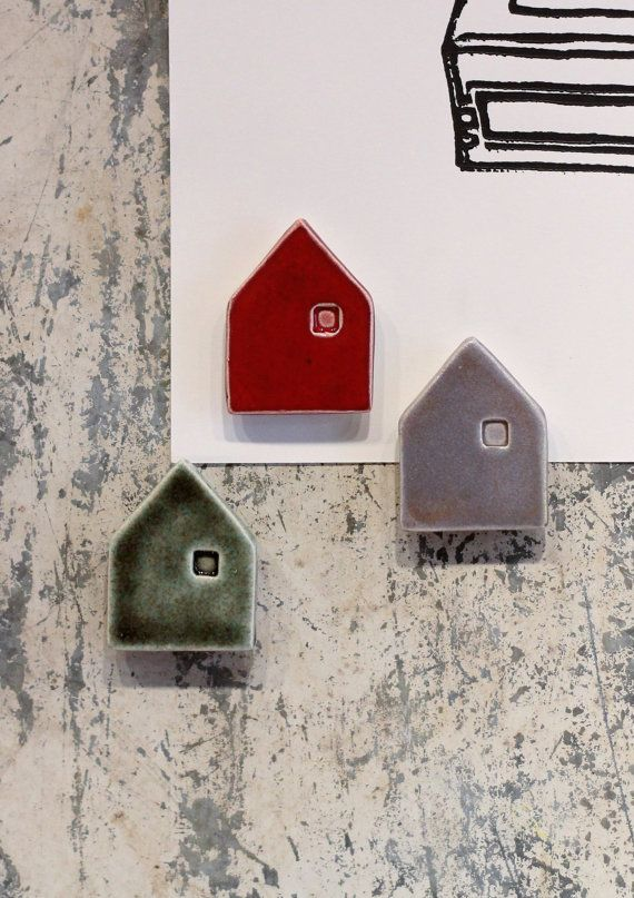 ceramic mini house magnet  inspiration board  set by cravestudio, $15.00