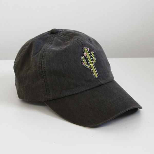 7d4bd7228a7 Quirky baseball hats features our fave embroidered cactus patch   choice of  hat color - CHARCOAL