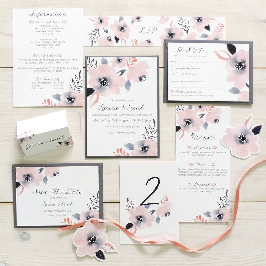 Sweet Posey Fl Wedding Stationery Set