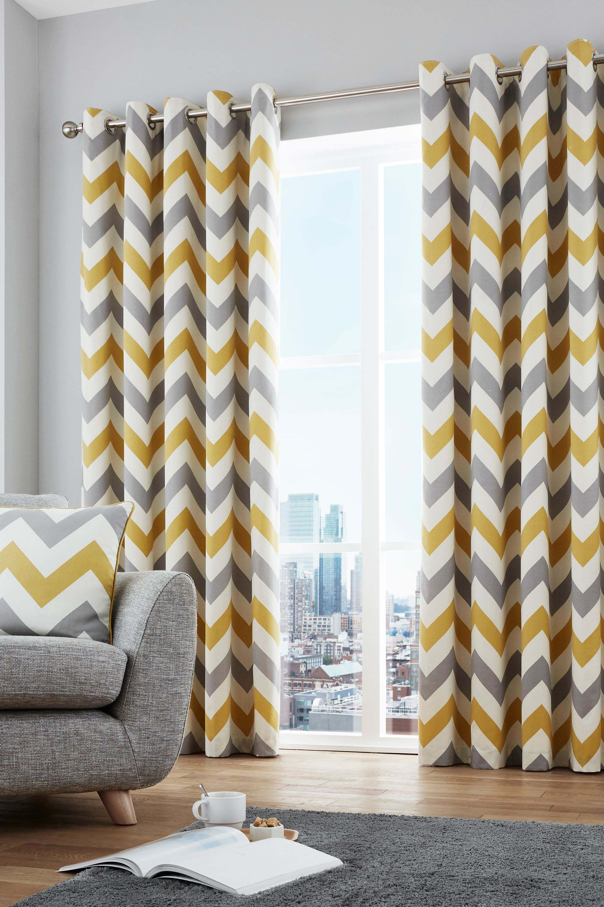 Buy Fusion Chevron Geo Lined Eyelet Curtains From The Nex