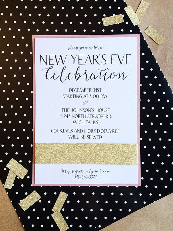 formal new years eve invitation with glitter band