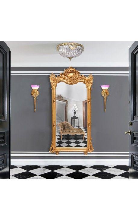 Grand miroir baroque rectangulaire dor ls entr e pinterest grands miroirs miroir baroque for Miroir dore rectangulaire