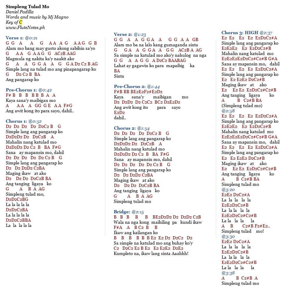 Simpleng Tulad Mo - Daniel Padilla : FluteNotes.ph (Free Letter Notes) : Chords~ : Pinterest ...